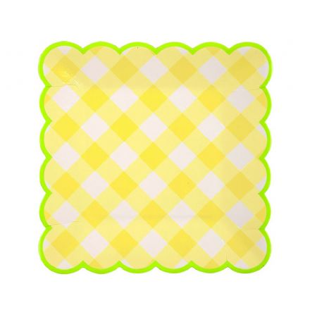 Yellow Gingham Paper Plates - Small